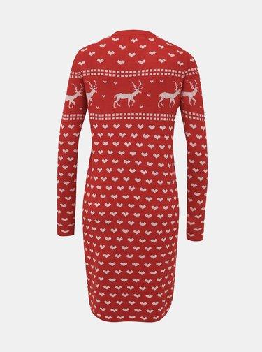 Červené svetrové šaty s vánočním motivem ONLY Heartmas