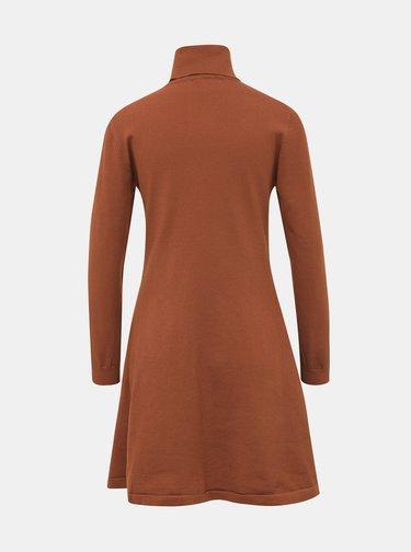 Hnědé svetrové šaty s rolákem ONLY Julia