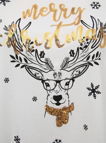 Čierne tričko s vianočným motívom ONLY CARMAKOMA Merry Carma