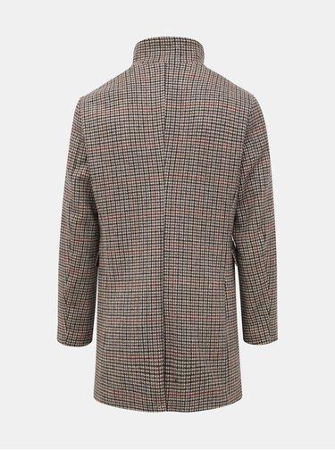 Béžový vzorovaný vlněný kabát Selected Homme Mosto