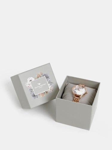 Dámské hodinky s kovovým páskem v růžovozlaté barvě Olivia Burton