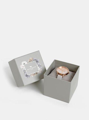 Dámské hodinky se světle šedým koženým páskem Olivia Burton
