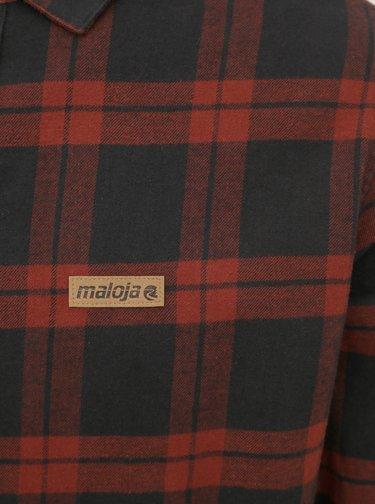 Čierno-červená pánska kockovaná flanelová košeľa Maloja Saxsee