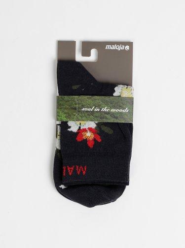 Tmavomodré dámske kvetované ponožky Maloja Magalie