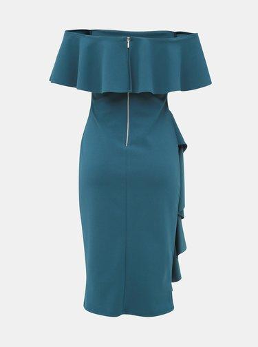 Petrolejové pouzdrové šaty s odhalenými rameny Dorothy Perkins