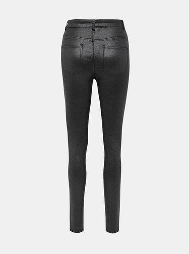 Černé koženkové třpytivé skinny fit kalhoty Noisy May Callie