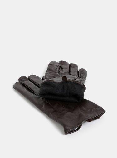 Tmavě hnědé kožené rukavice Burton Menswear London