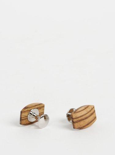 Hnědé dřevěné manžetové knoflíčky BeWooden