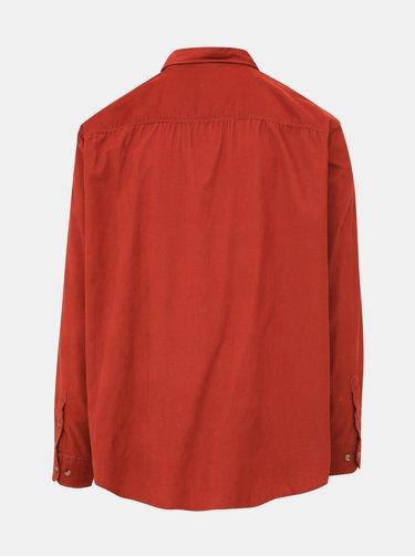Oranžová manšestrová slim fit košile Jack & Jones Tray