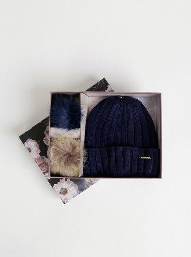 Tmavě modrá čepice s vyměnitelnou bambulí Gionni