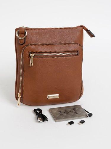 Hnedá crossbody kabelka s powerbankou, zápisníkom, perom, svetielkom a zrkadielkom Something Special
