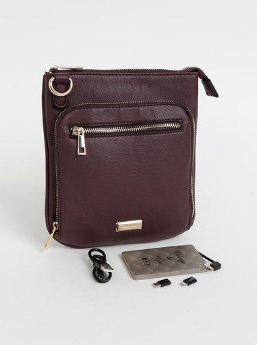 Vínová crossbody kabelka s powerbankou, zápisníkom, perom, svetielkom a zrkadielkom Something Special