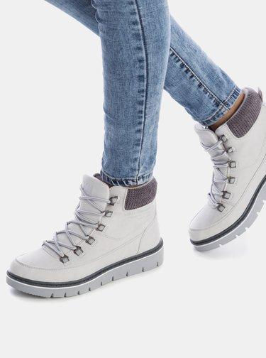 Světle šedé dámské zimní kotníkové boty Xti