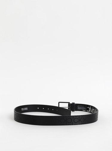 Černý pánský vzorovaný kožený pásek Calvin Klein Jeans