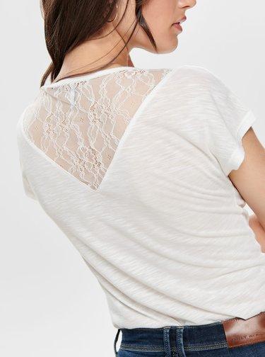 Biele tričko s krajkou ONLY Elena