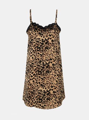 Svetlohnedá nočná košielka s gepardím vzorom a krajkou Pieces Jessica