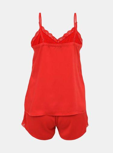 Červené pyžamo s krajkou Pieces Jessica