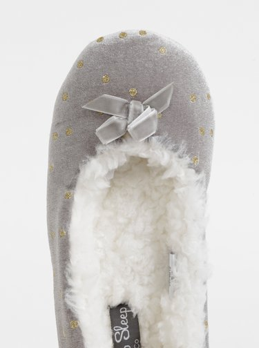 Šedé bodkované papuče M&Co
