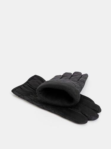 Černé prošívané rukavice M&Co