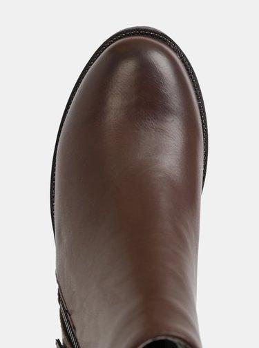 Hnedé dámske členkové topánky s hadím vzorom Xti