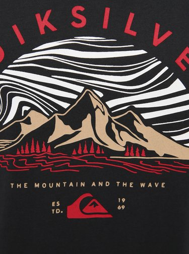 Černé tričko s potiskem Quiksilver Dunes Capess