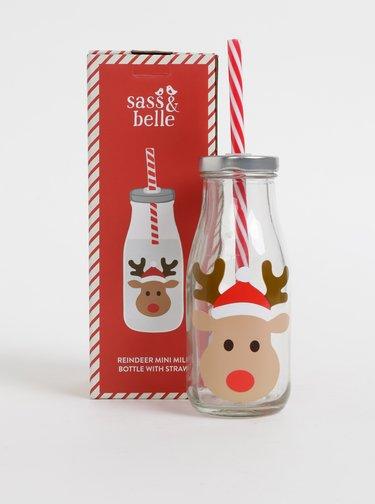 Sklenená fľaša so slamkou a vianočnou potlačou Sass & Belle 225 ml