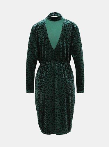 Tmavě zelené sametové šaty s leopardím vzorem VILA Linao