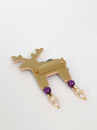 Velká brož ve zlaté barvě s kamínky Preciosa Components Deers Roveroni