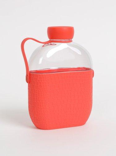 Fľaša na vodu s červeným silikonovým obalom s krokodýlím vzorom HIP 650 ml