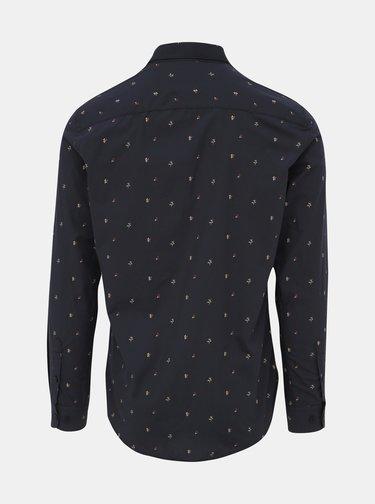 Tmavě modrá květovaná slim fit košile ONLY & SONS Flow