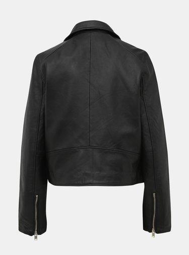 Čierna kožená bunda Selected Femme Katie