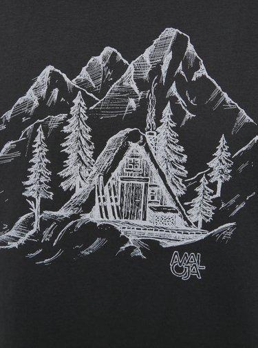 Čierne pánske tričko s potlačou Maloja Lavinous