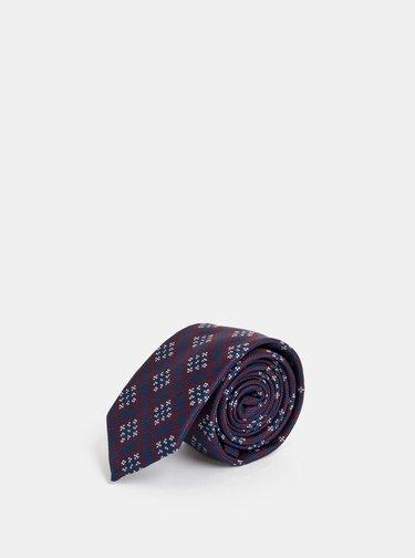 Vínovo-modrá vzorovaná kravata Selected Homme Martin