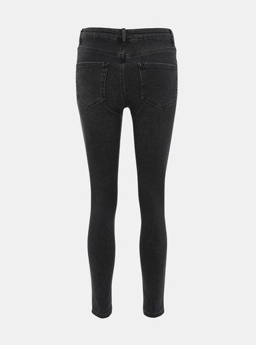 Tmavě šedé zkrácené skinny fit džíny Dorothy Perkins Alex