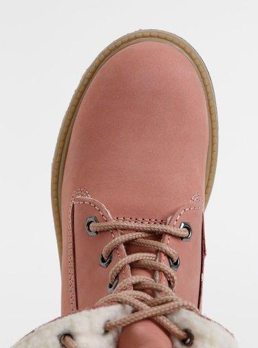 Růžové dámské semišové kotníkové zimní boty Tom Tailor