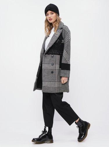 Šedý kostkovaný  kabát Desigual Abrig Detroit
