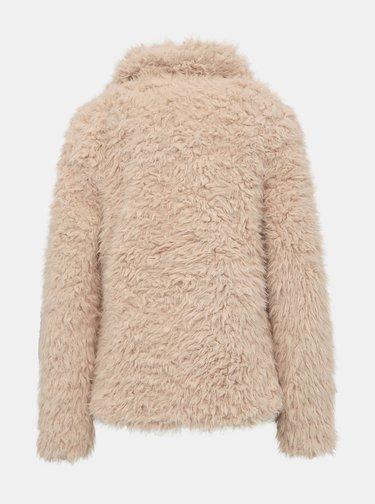 Béžový dámský krátký kabát z umělé kožešiny Haily´s Saya