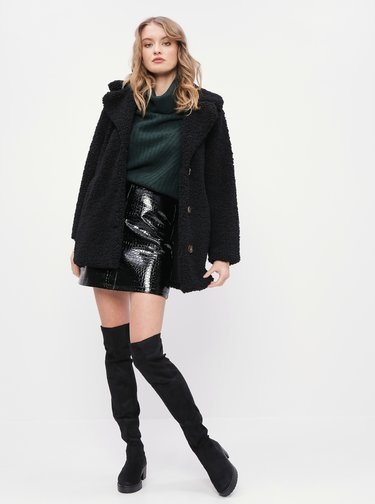 Černá koženková sukně s krokodýlím vzorem Dorothy Perkins