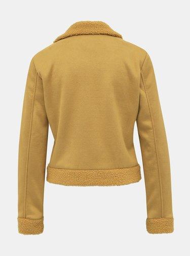 Horčicová bunda v semišovej úprave Haily´s Mina
