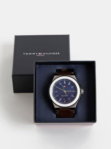 Pánské hodinky s hnědým koženým páskem Tommy Hilfiger