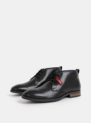 Černé pánské kožené kotníkové boty s.Oliver