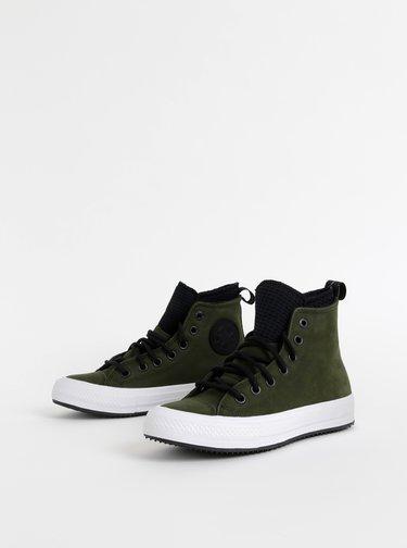 Tmavě zelené kožené kotníkové tenisky Converse Chuck Taylor