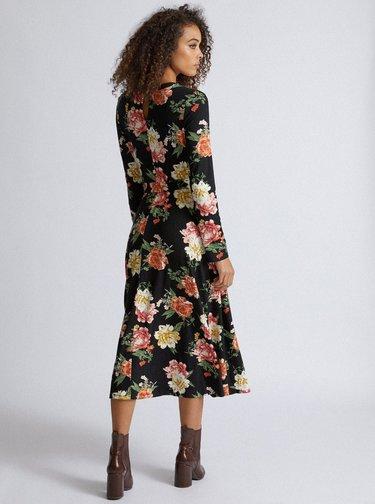 Černé květované midišaty Dorothy Perkins Tall