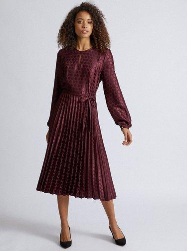 Vínové bodkované midi šaty s plisovanou sukňou Dorothy Perkins Tall