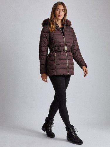 Tmavě hnědá vzorovaná prošívaná zimní bunda Dorothy Perkins