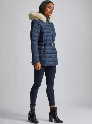 Tmavomodrá vzorovaná prešívaná zimná bunda Dorothy Perkins Petite