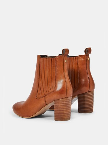 Hnedé kožené chelsea topánky Dorothy Perkins