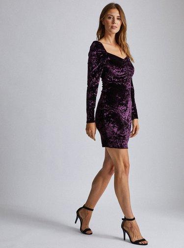 Fialové sametové pouzdrové šaty Dorothy Perkins