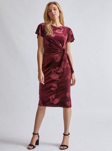 Vínové květované sametové šaty Dorothy Perkins