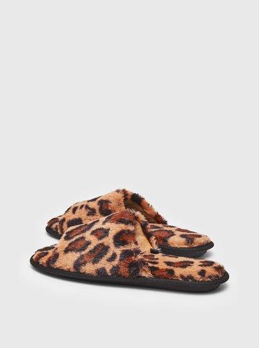 Hnědé pantofle s leopardím vzorem Dorothy Perkins